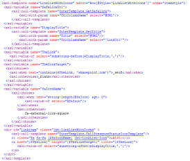 The XSL code from SharePoint Designer